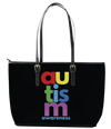 Colourful Prints Autism Awareness Leather Tote Bag (Large) - Black