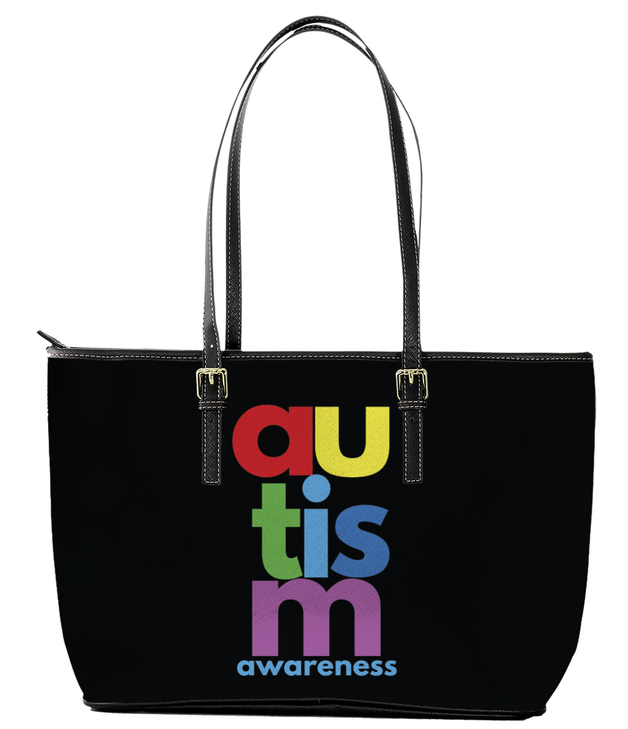 Colourful Prints Autism Awareness Leather Tote Bag (Small) - Black