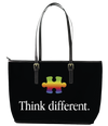 Think Different Autism  Leather Tote Bag (Small) - Black