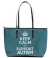 Keep Calm and Support Autism Leather Tote Bag (Large) - Black