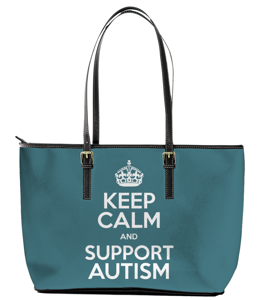 Keep Calm and Support Autism Leather Tote Bag (Small) - Black