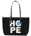 Autism Hope Leather Tote Bag (Large) - Black