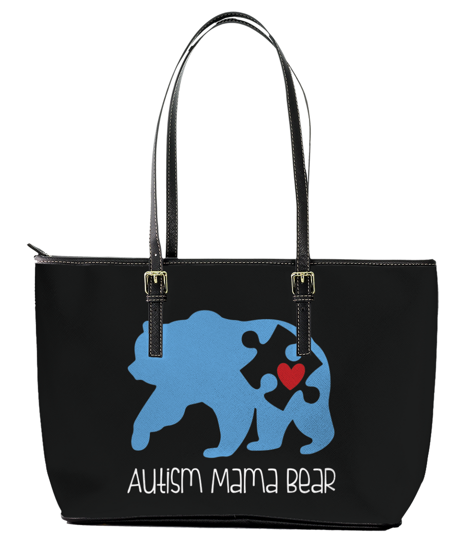 Autism Mama Bear Leather Tote Bag (Small) - Black