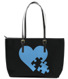 Heart with Puzzle Piece Autism  Leather Tote Bag (Small) - Black