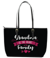 Grandma is the Heart Leather Tote Bag (Small) - Black