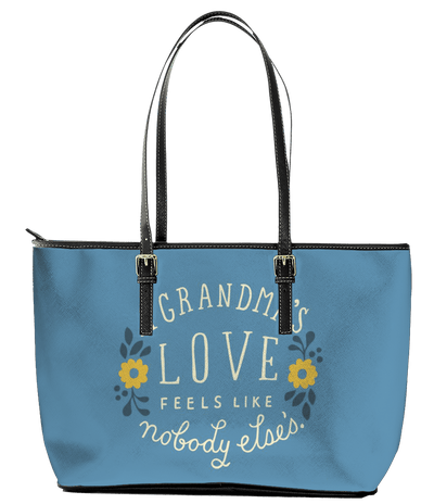 A Grandma's Love Leather Tote Bag (Small) - Powder Blue