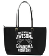Awesome Grandma Leather Tote Bag (Small) - Black