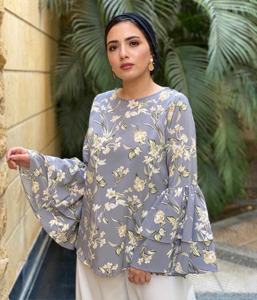 The Ruff Floral Blouse Grey