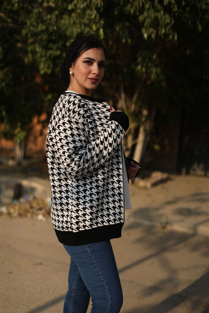Houndstooth Classic Cardigan Black