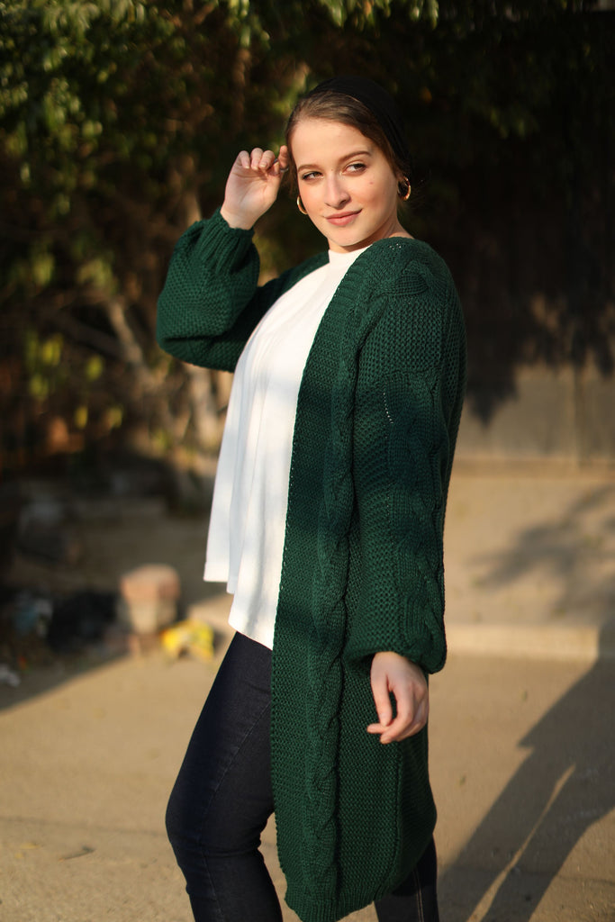 Long Braid Cardigan Emerald Green
