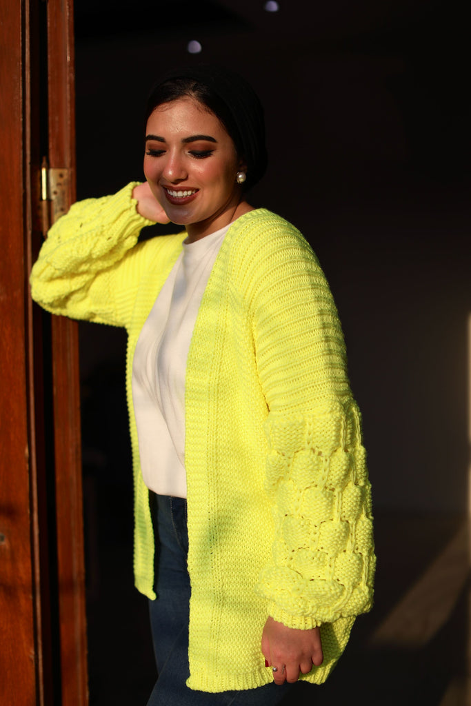 The Knitty Girl Heavyweight Cardigan Neon