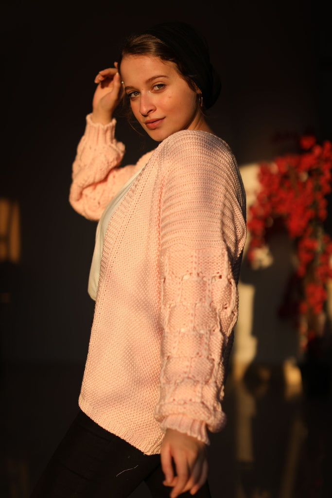 The Knitty Girl Heavyweight Cardigan Rose