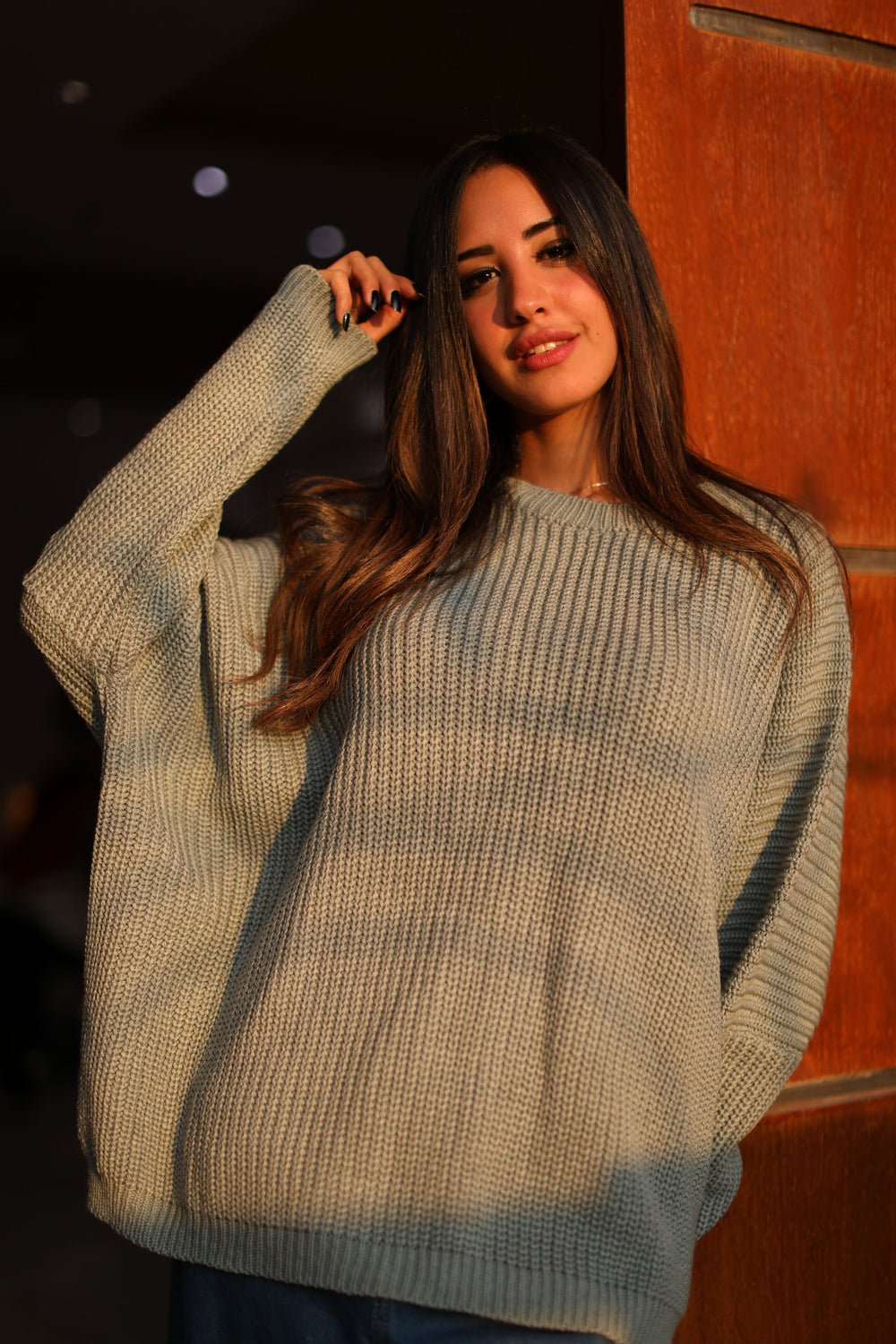 Oversized Knit Sweater Sliver