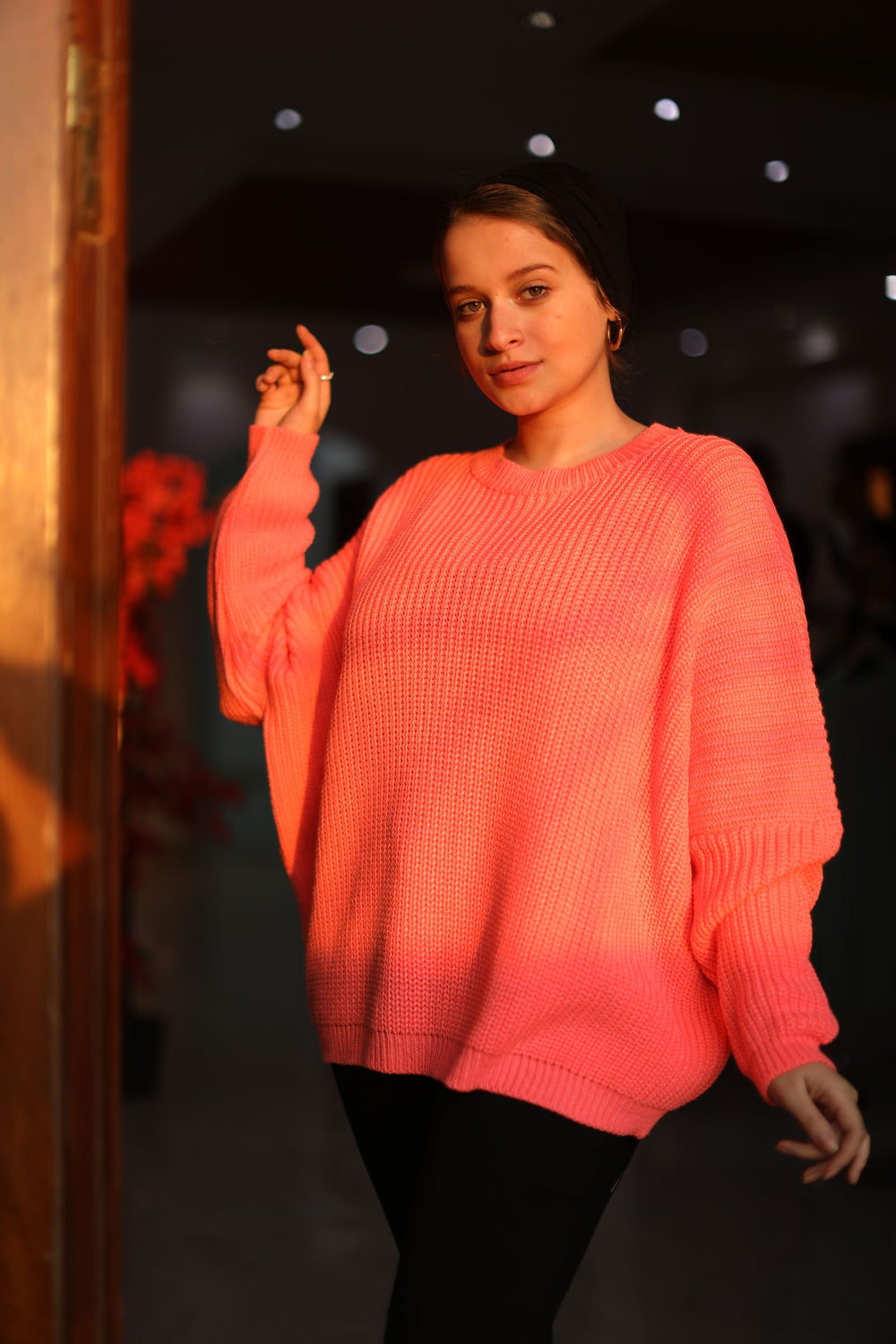 Oversized Knit Sweater Neon Pink