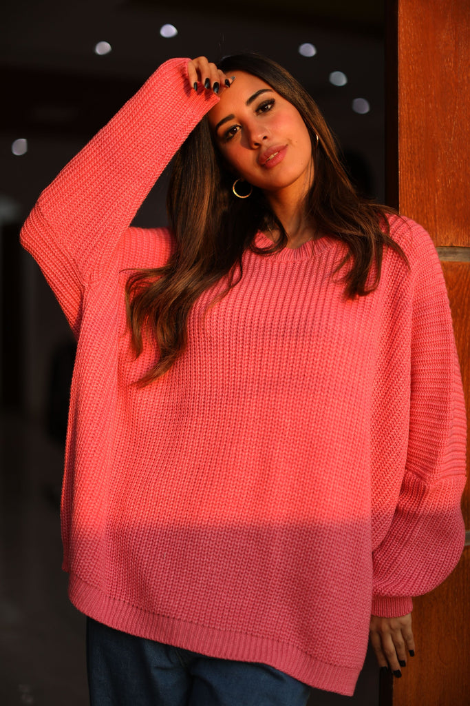 Oversized Knit Sweater Hot Pink