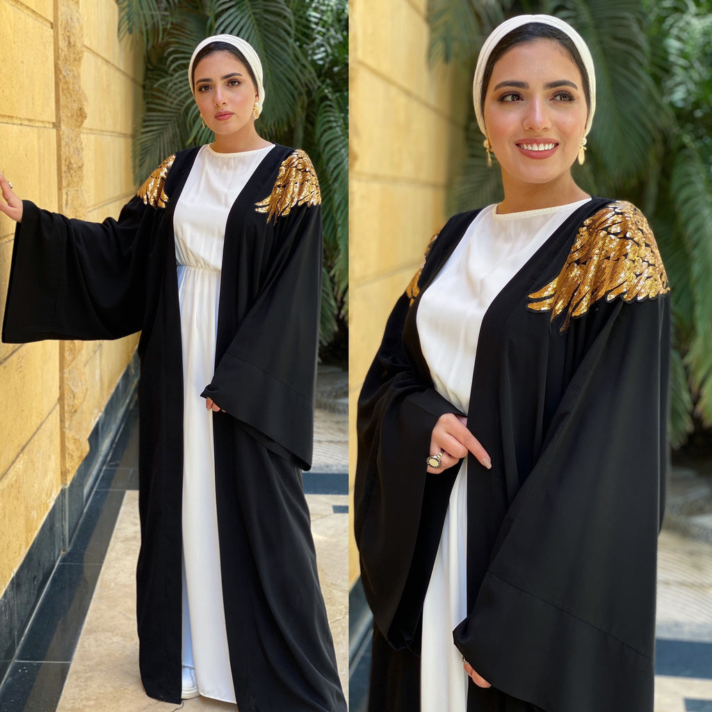 Golden Angel Abaya Black