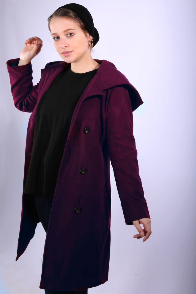 Winter Hooded Coat Burgandy