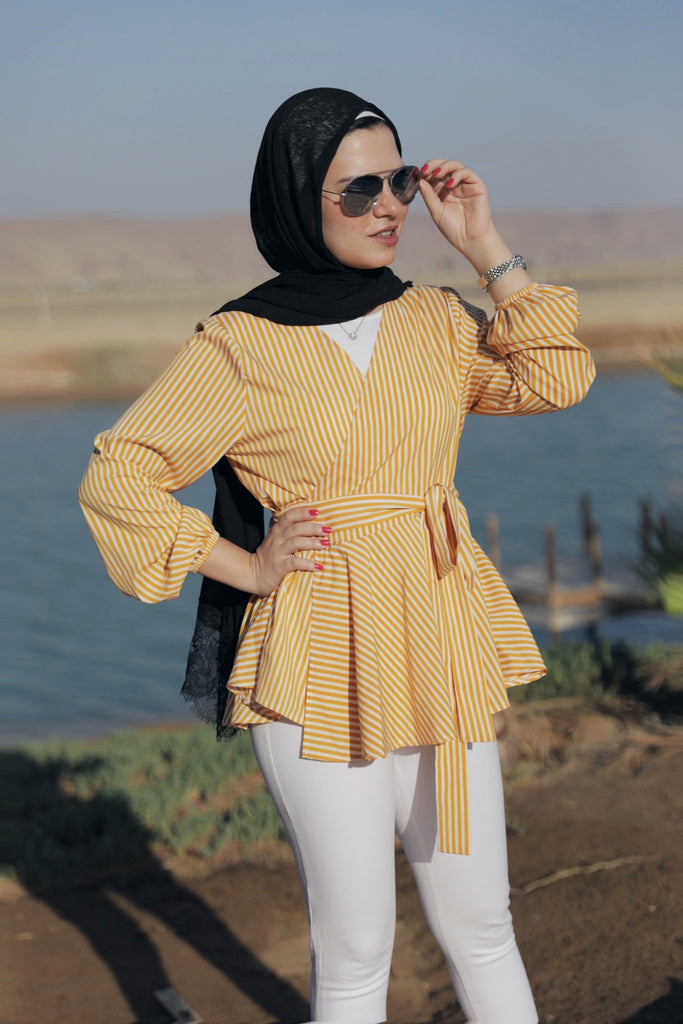Criss Cross Ruffle  Blouse - Mustard