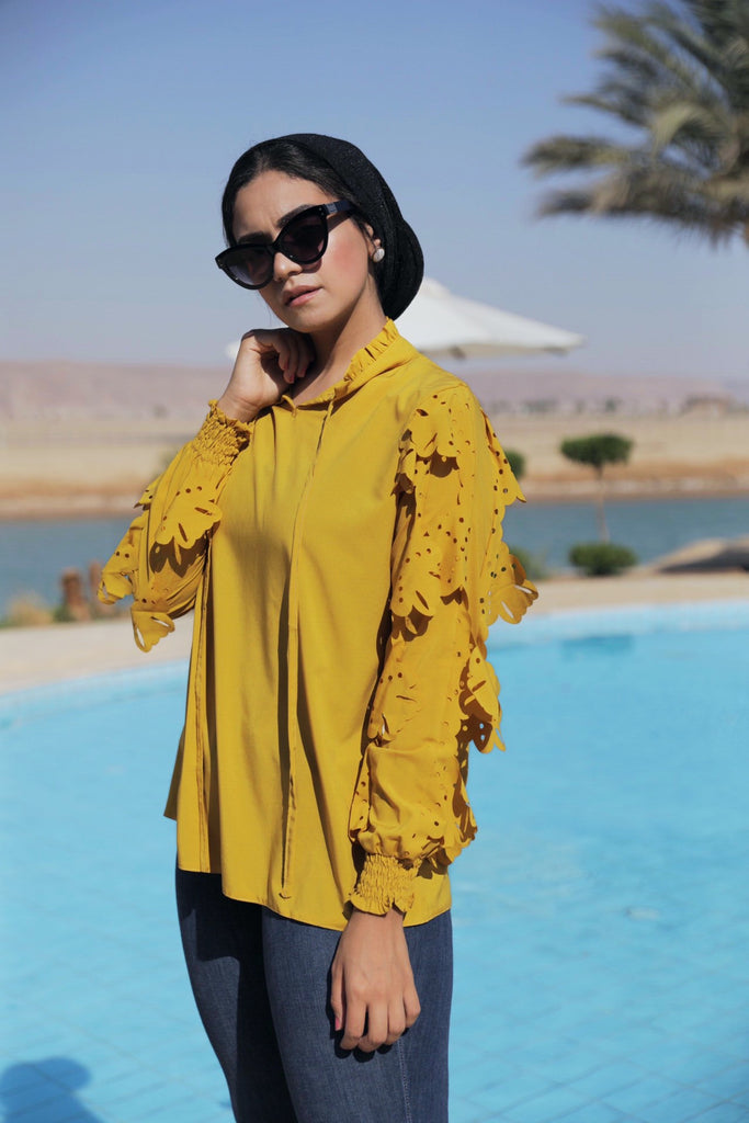 Cut Out Ruff Blouse - Mustard