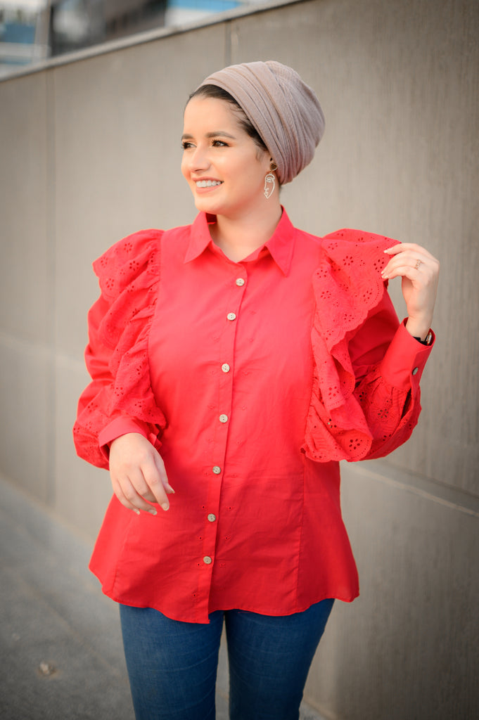 Wingy Blouse Cherry