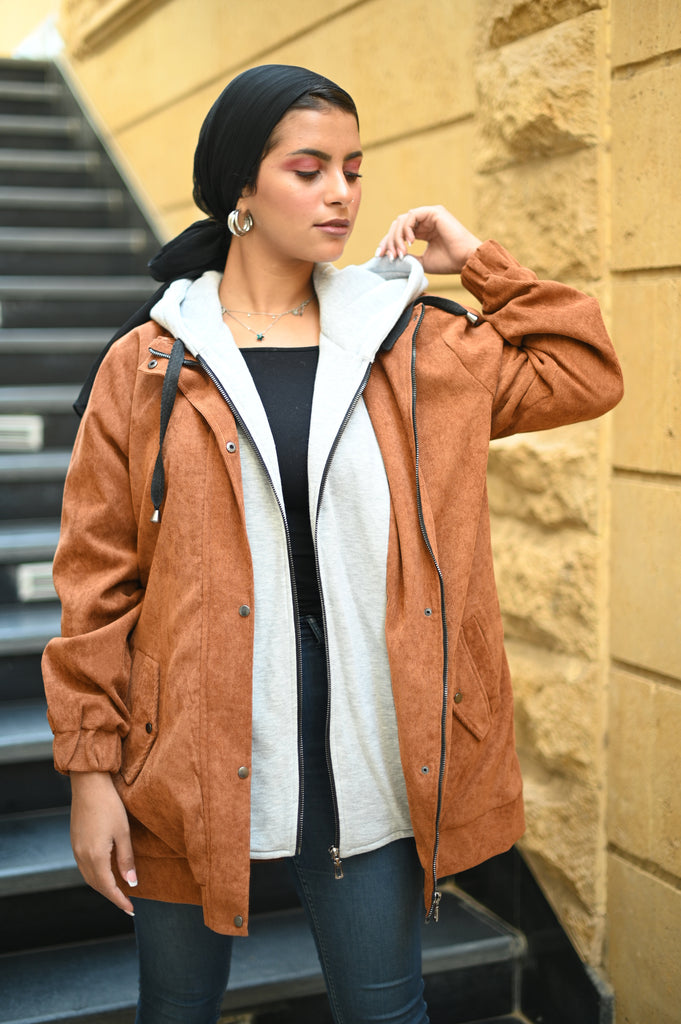 Velvet Hooded Jacket Carmel