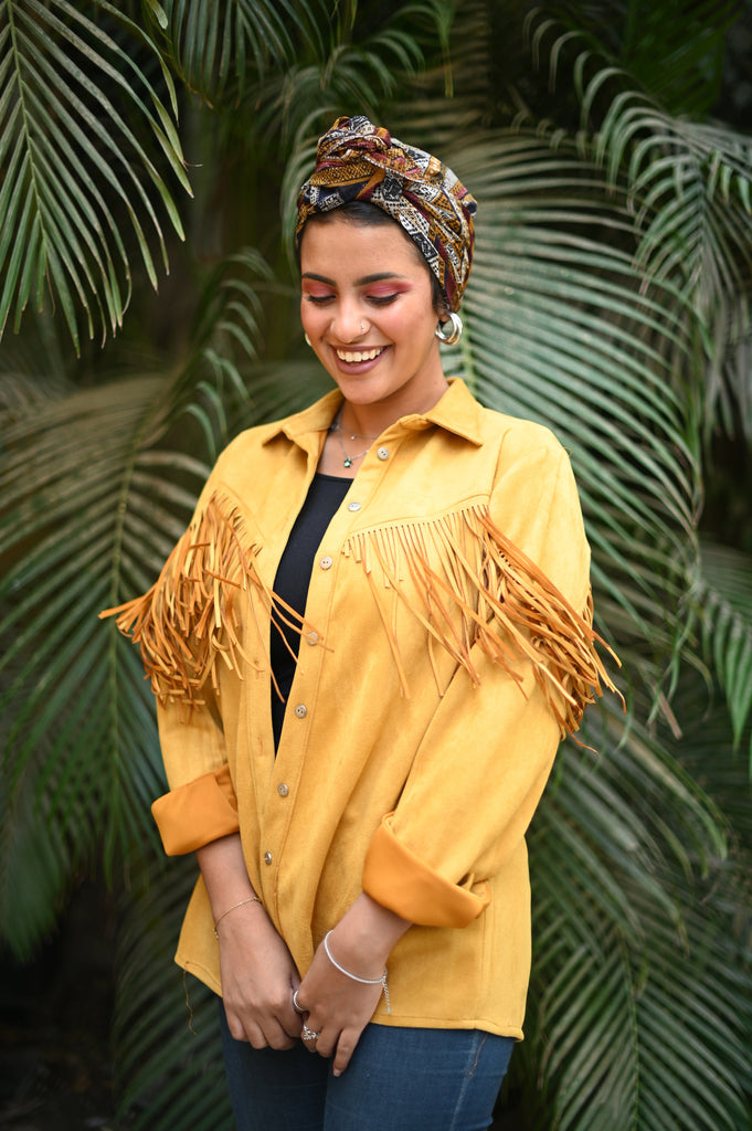 Hot Mustard Suede Fringes Shirt