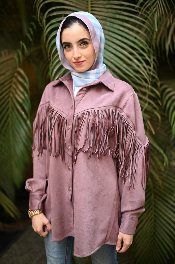 Purple Smoke Suede Fringes Shirt