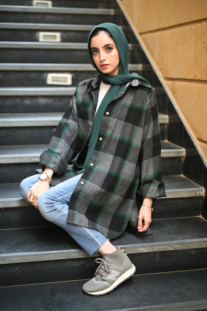 Black X Green Plaid Shirt