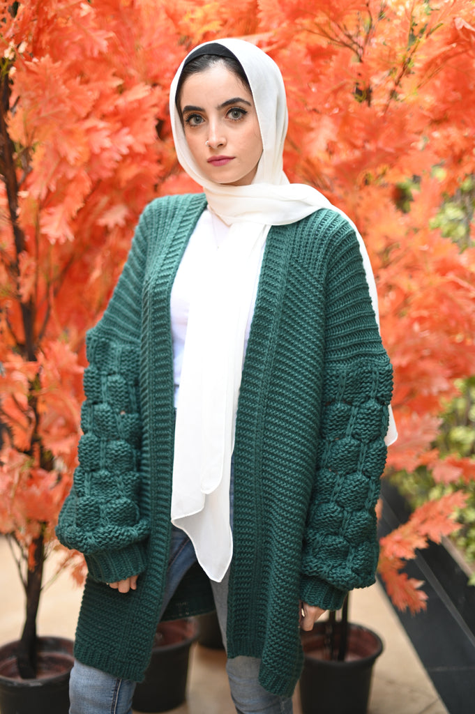 The Knitty Girl Heavyweight Cardigan Emerald Green