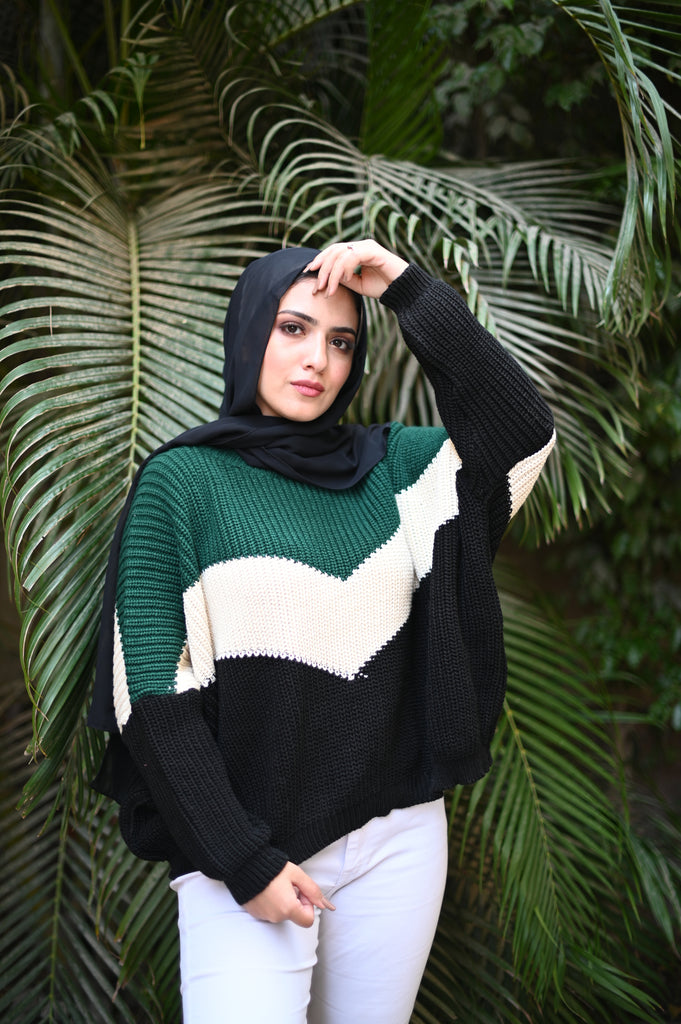 The V Sweater Emerald Green Charcoal