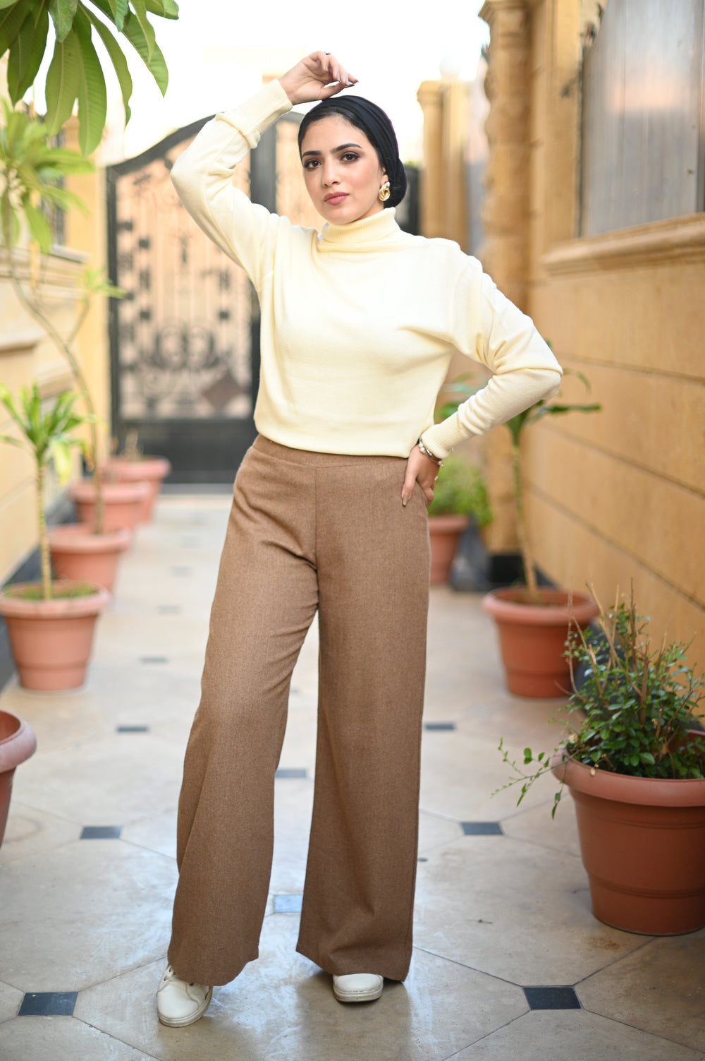 Wide Wool Pants Caramel