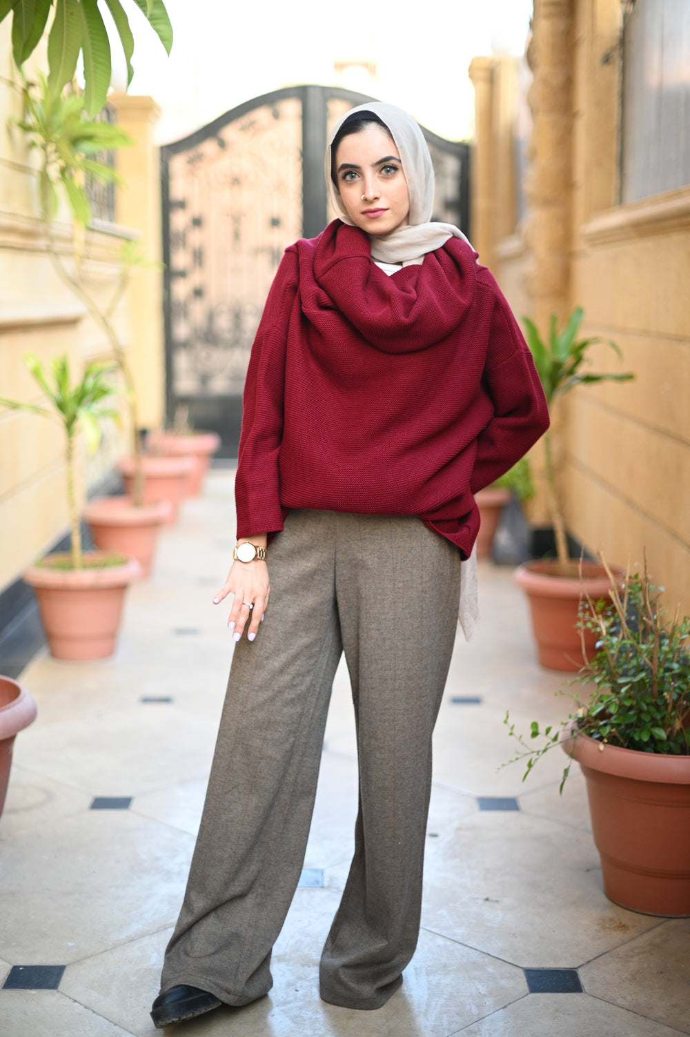 Wide Wool Pants Striped Latte
