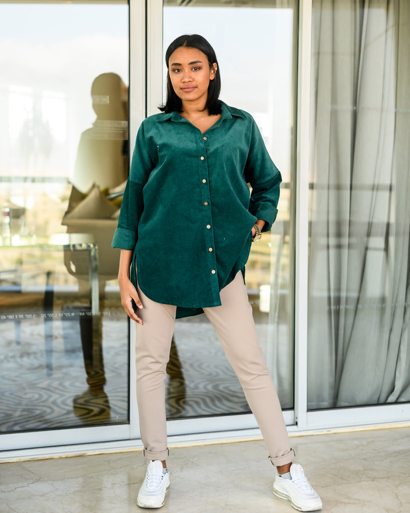 Oversized Suede Shirt Emerald Green