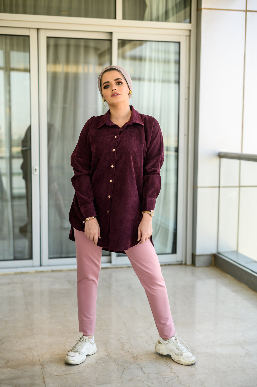 Oversized Suede Shirt Plum