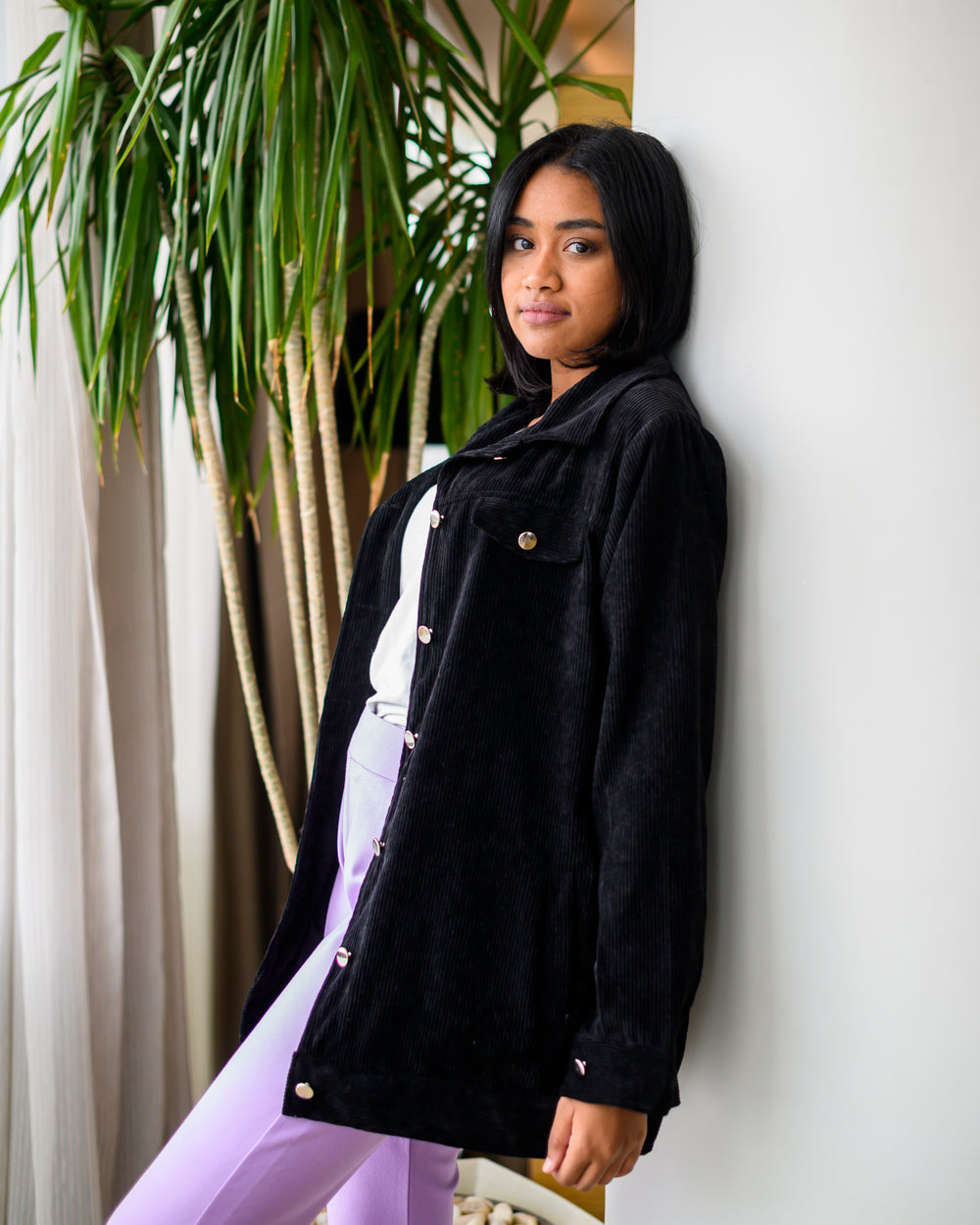 Velvet Boyfriend Jacket Black Charcoal