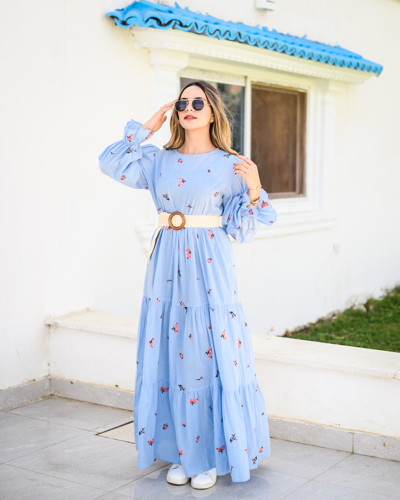 Embroidered Floral Dress Cornflower Blue
