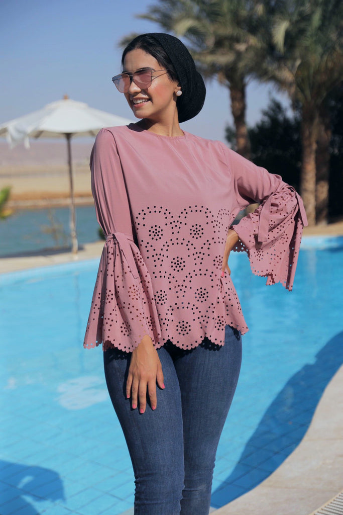 Flower Cut Blouse - Nude PINK