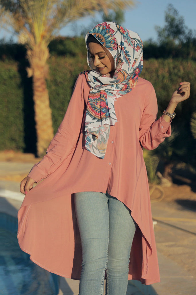 High Low Shirt - Nude Pink