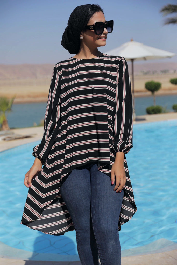 High Low Stripped Blouse - Black