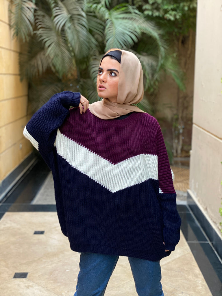 Oversized Knit Sweater Plum Night