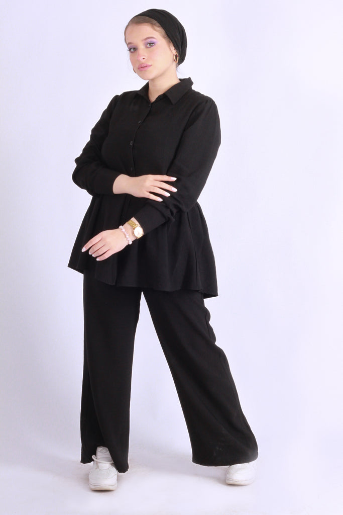 Linen Peplum Shirt Black