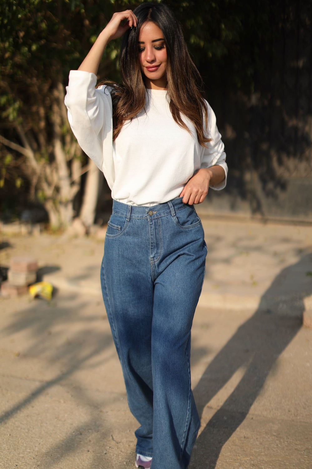 Wide Pants  Jeans Baby Blue