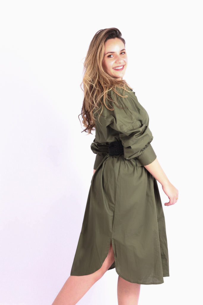 Basic Shirt Dress Army Green
