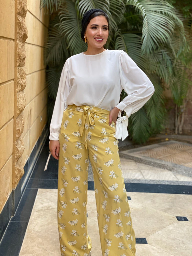 Ribbon Floral Pants Yellow