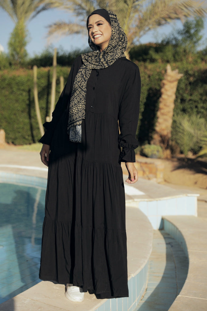 Maxi Layer Beach Dress - Black