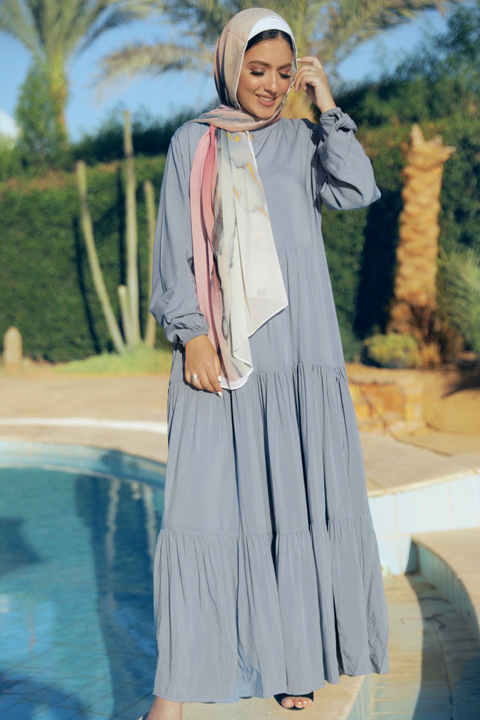 Maxi Layer Beach Dress - Blue Smoke