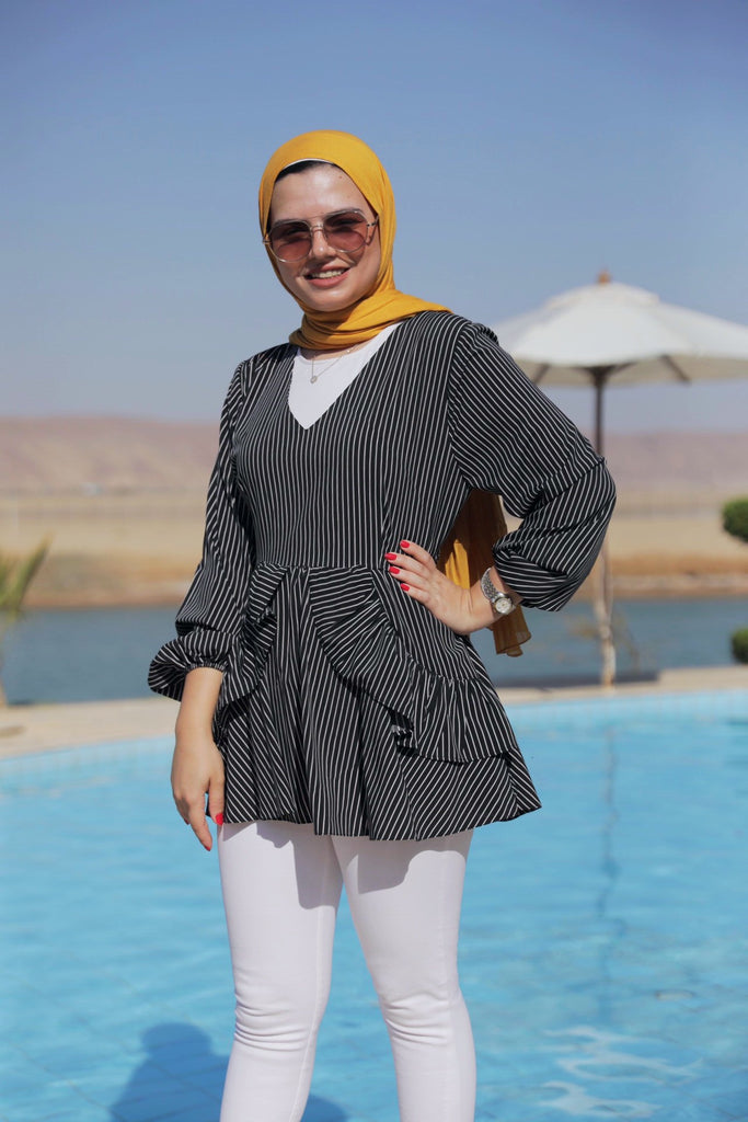 New Layered Blouse - Stripped Black