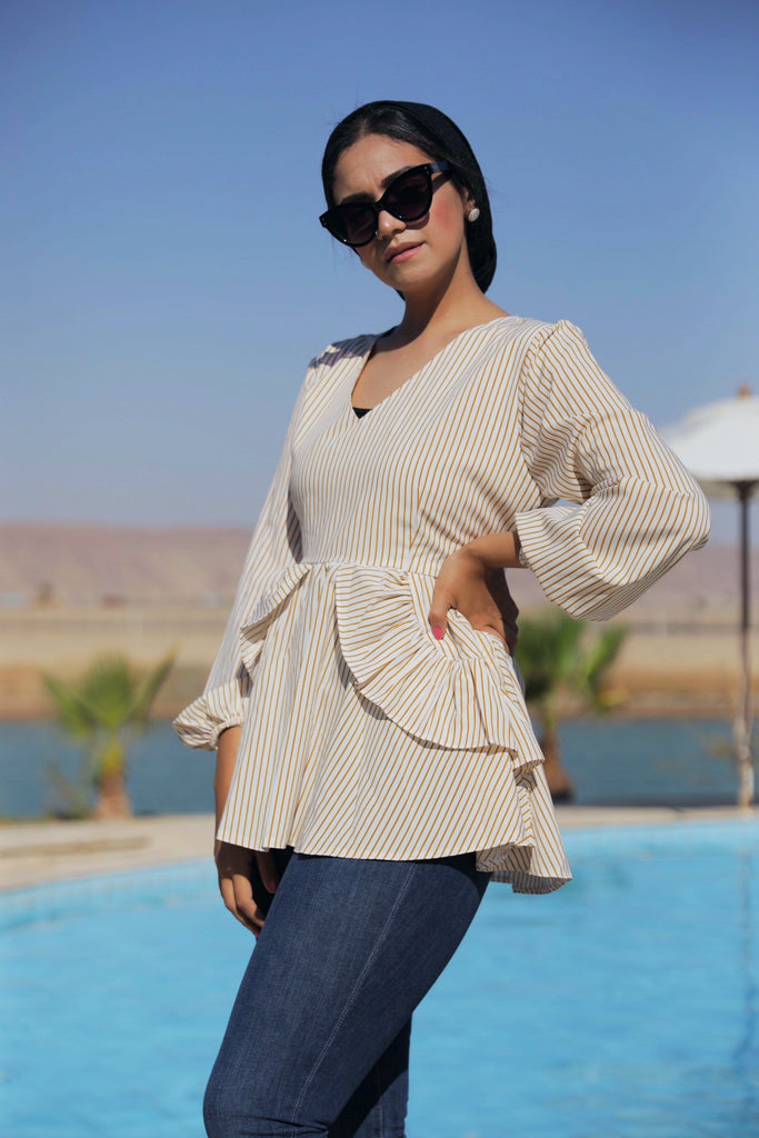 New Layered Blouse - Stripped Camel