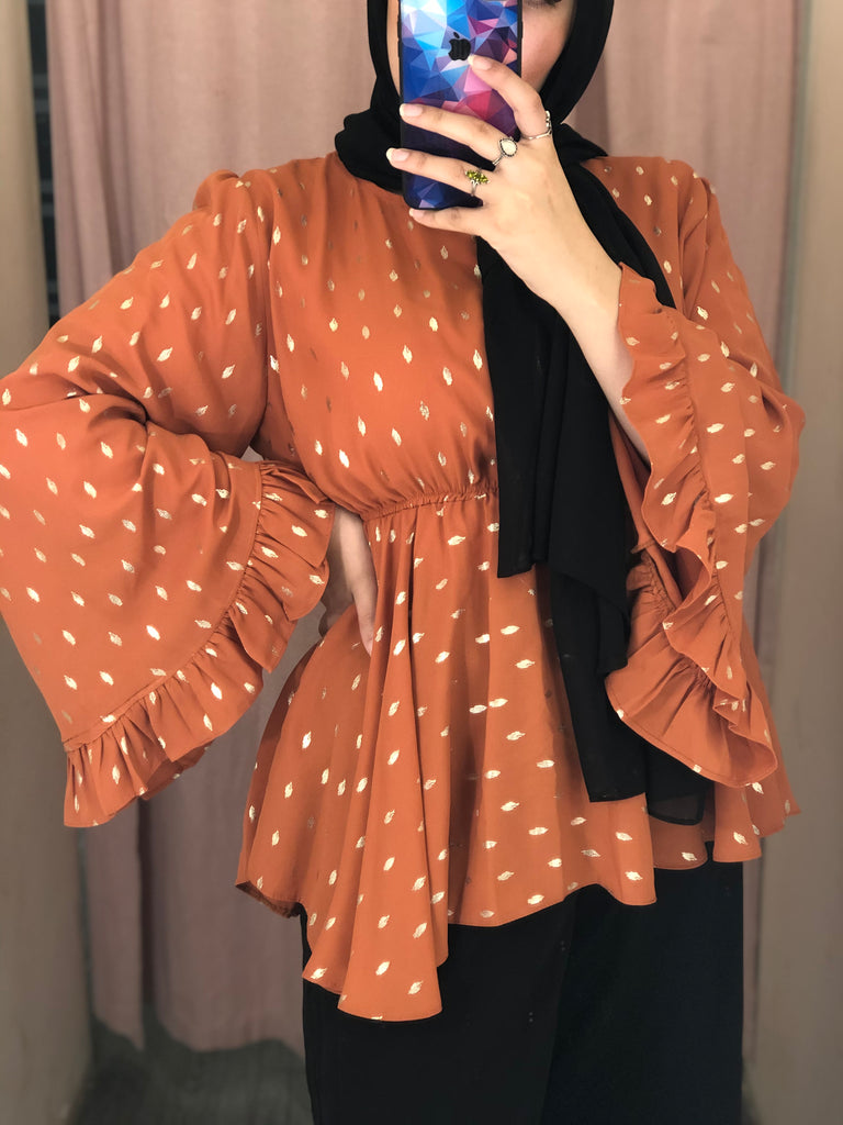Shining Dots Blouse Caramel