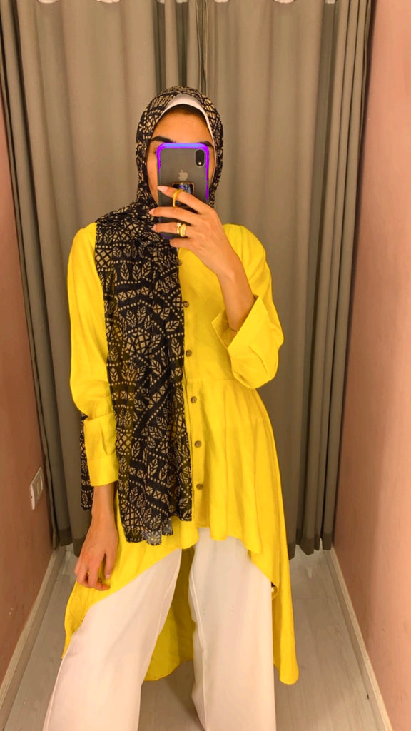 High Low Linen Shirt Yellow